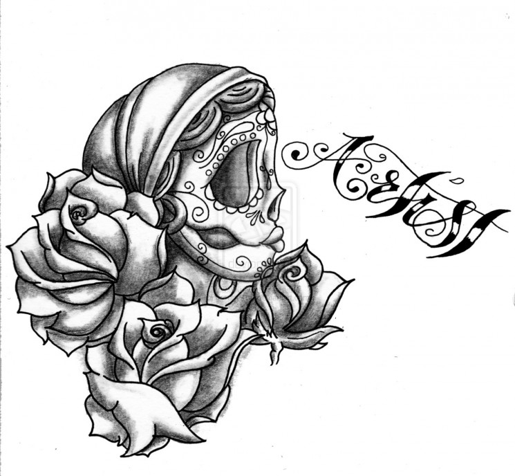 Gypsy Flowers Tattoo On Chest