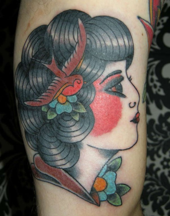 Gypsy Girl With Butterfly Tattoo Design