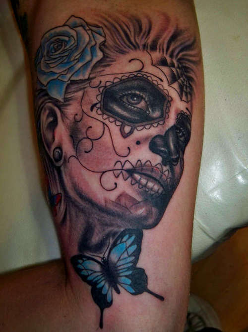 Gypsy Girl n Skulls Tattoo On Ribs