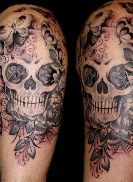 Gypsy Skull Tattoo On Back Of Shoulder