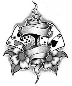 Gypsy Skull With Dices 8 Ball Tattoo Design