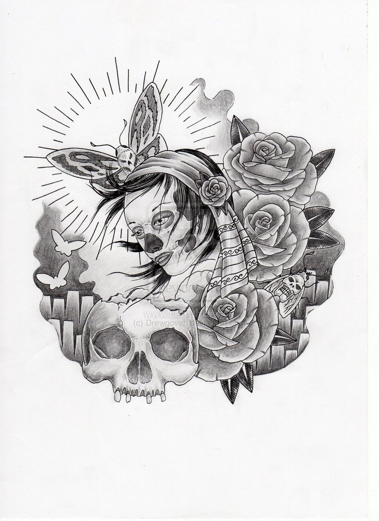 Sketches of skulls and roses