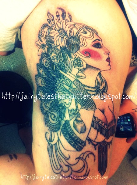 Gypsy Tattoo On Right Thigh
