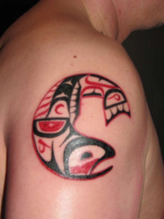 Haida Owl Tattoo On Leg