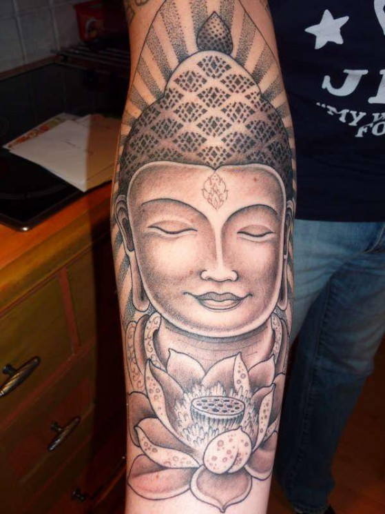 Half Sleeve Buddhist Girl Tattoo Design