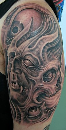Half Sleeve Death Face Tattoo Design
