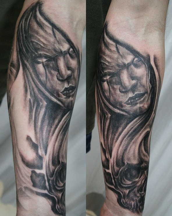 Half Sleeve Horror Face Tattoo Design