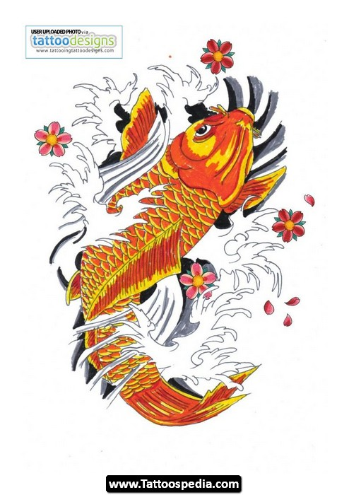 Half Sleeve Koi Fish Japanese Tattoo Design