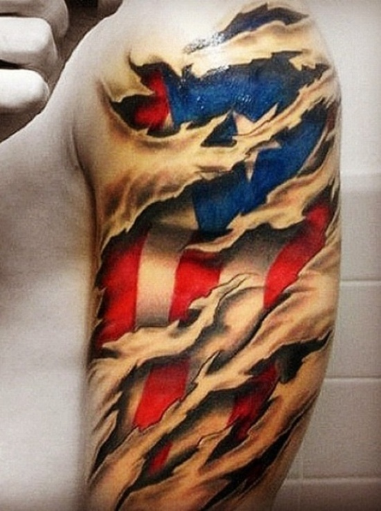 Half Sleeve Of American Flag Tattoo For Men
