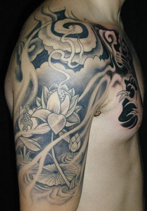 Half Sleeve Of Fish Waves And Flower Tattoos