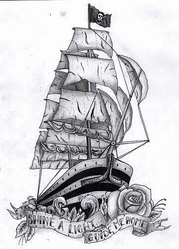 Half Sleeve Of Pirate Ship And Rose Tattoos
