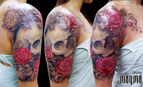 Half Sleeve Skull And Roses Tattoos For Women