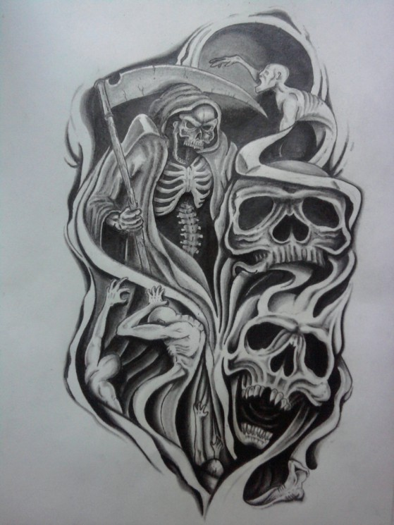 Half Sleeve Skull Horror Tattoo Design