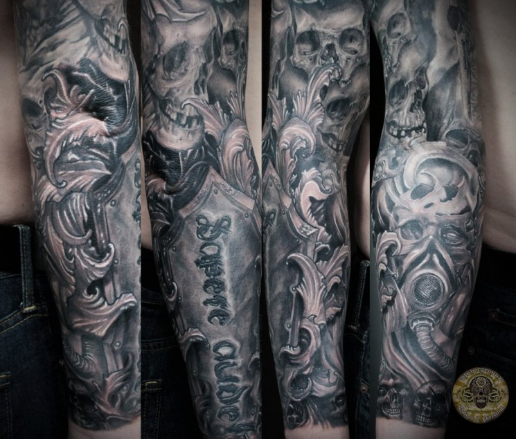 Half Sleeve Warrior Viking Tattoo