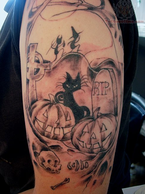 Halloween Pumpkin Tattoo On Elbow