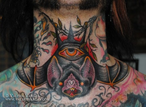 Hanging Eye Bat Neck Tattoo