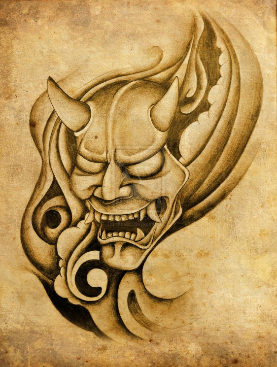 Hannya Mask And Waves Tattoo Poster