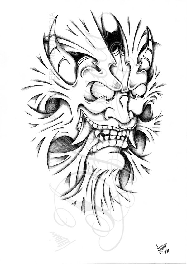 Line Work Design : Hannya mask line work tattoo design in real photo