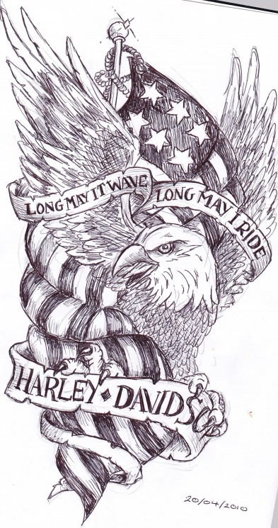 Harley Davidson Flag Tattoo Design