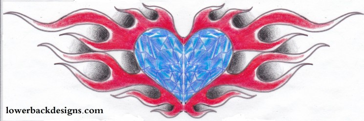 Heart Diamond With Flames Tattoo For Lowerback