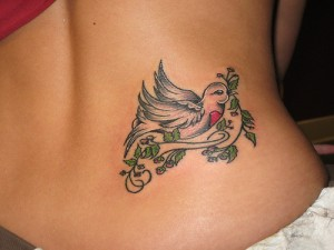 Heart Hope Banner With Flowers Tattoo Design