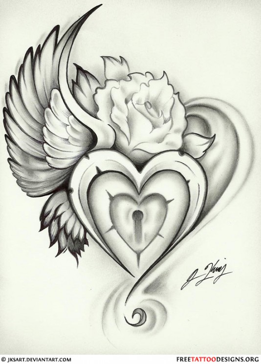 Heart Key With Rose Tattoo Design