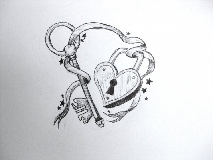 Heart Key n Lock Tattoo Design