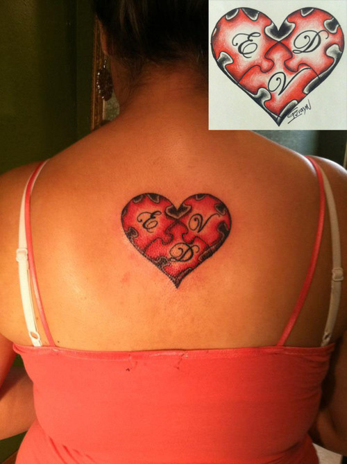 Heart Puzzle Tattoo On Upper Back