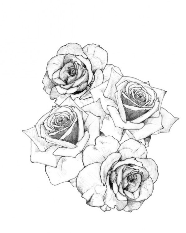 Heart Roses Banner Chest Piece Tattoo Design