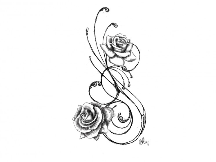 Heart With Angel Wings Tattoo With Roses On Lower Back
