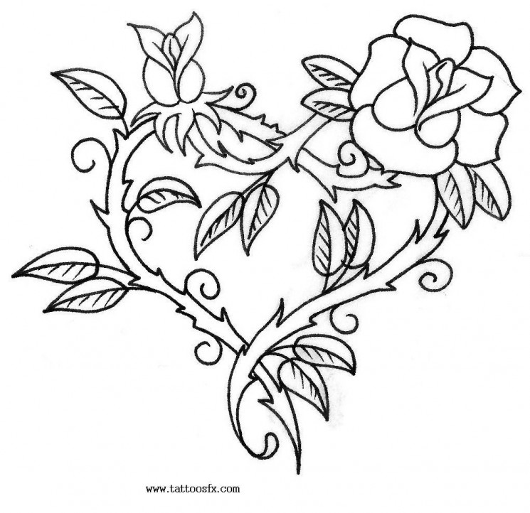 Heart With Roses Tattoo Design