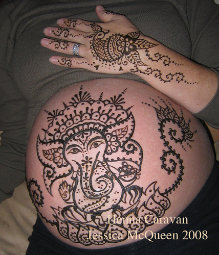 Henna Hinduism Tattoo On Belly