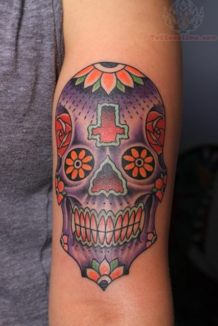 Henna Sugar Skull Tattoo On Biceps