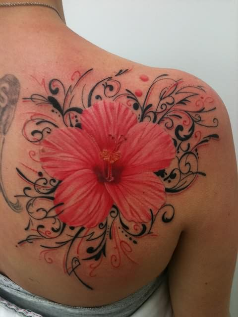 Hibiscus Flower Tattoo On Back Of Neck
