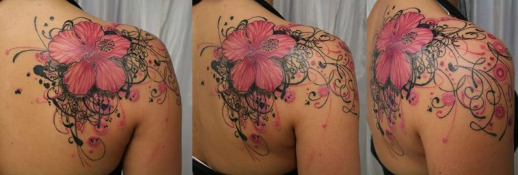 Hibiscus Flower Tattoo On The Shoulder