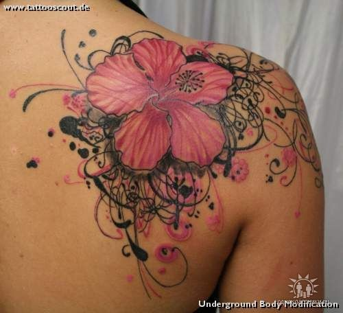 Hibiscus Flowers Tattoo On Back Body For Girls