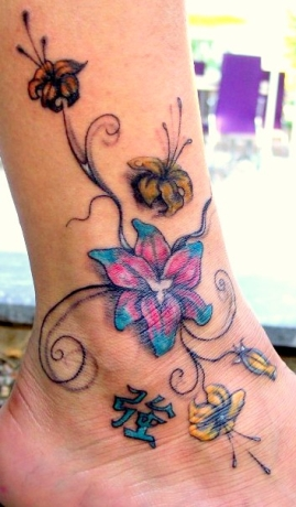 Hibiscus Flowers Tattoo On Right Shoulder For Girls