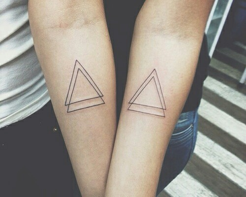Hipster Triangle Tattoos On Forearms