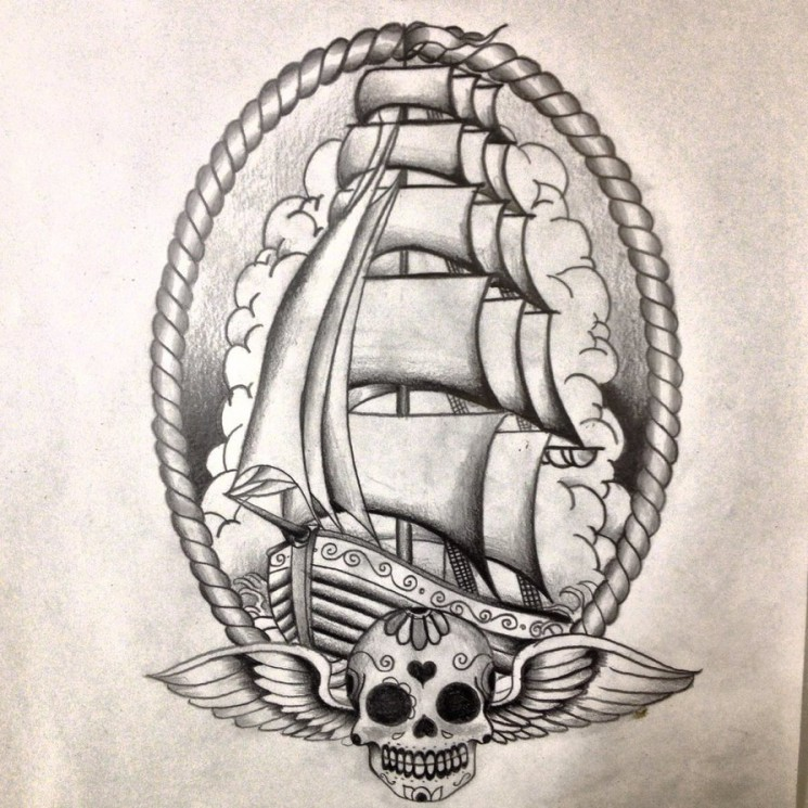 Homeward Bound Pirate Ship Tattoo Sketch