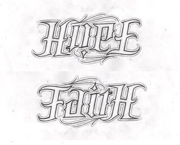 Hope Love Faith Ambigram Tattoo On Rib Side