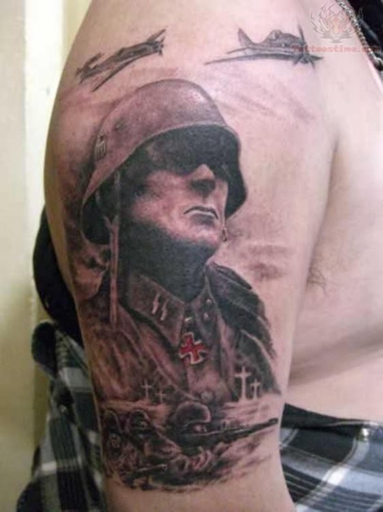 Hopeless Military Soldier Tattoo On Biceps