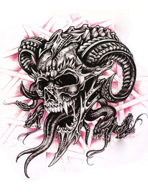 Horned Skull With Wings Tattoo Design