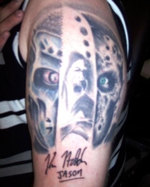 Horror Jason Tattoo On Biceps
