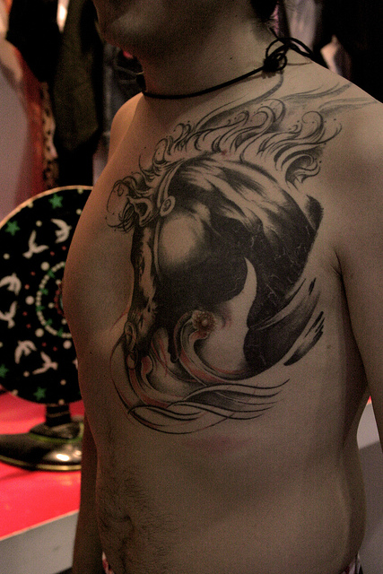 Horse Tattoo On Chest Of Guy