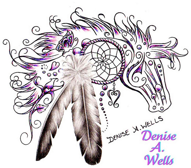 Horse With Indian Feathers Tattoo Design