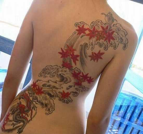 Hot Girl With Blue Wave Tattoos On Lowerback