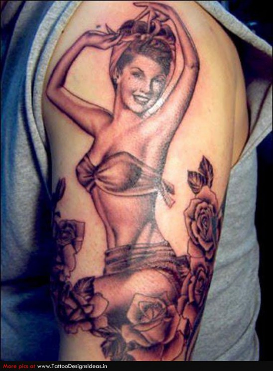 Hot Pin Up Girl Tattoo On Arm