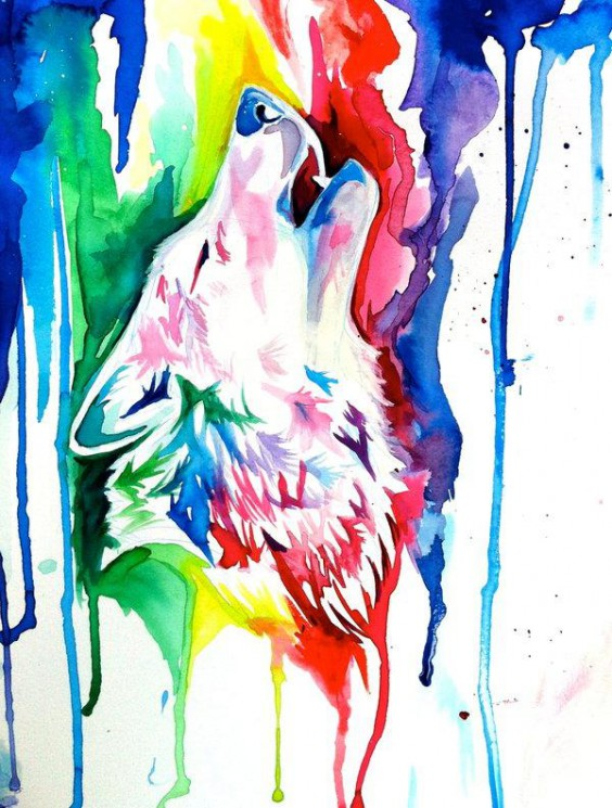 Howling Wolf Watercolor Tattoo