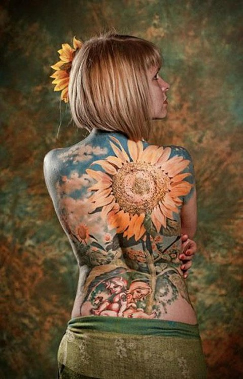 Huge Dragonfly Tattoo On Back