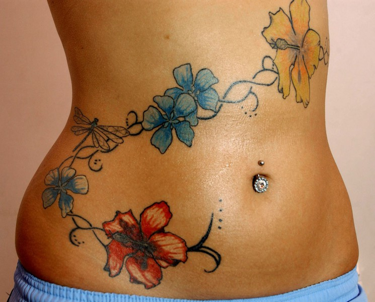 Humming Bird n Colorful Flowers Tattoo On Side